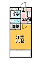 エクセレントホーム 1階1Kの間取り