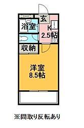 エクセレントホーム 3階1Kの間取り