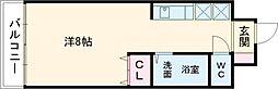 カーサ黒崎 6階ワンルームの間取り