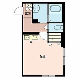 京町エンジェル 1階ワンルームの間取り