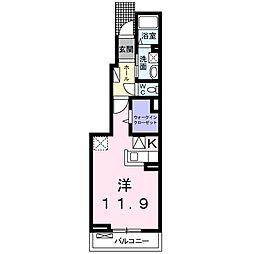 名鉄犬山線 西春駅 徒歩15分の賃貸アパート 1階1Kの間取り