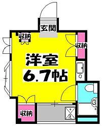 JR川越線 南古谷駅 徒歩3分の賃貸マンション 3階ワンルームの間取り