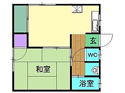 山口アパート 2階1DKの間取り