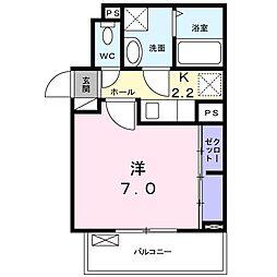 名古屋市営名城線 茶屋ヶ坂駅 徒歩14分の賃貸アパート 3階1Kの間取り