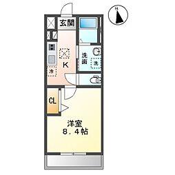 袖ケ浦市久保田新築アパート 1階1Kの間取り