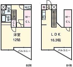 東急田園都市線 三軒茶屋駅 徒歩17分の賃貸マンション 2階1SLDKの間取り