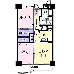 JR高崎線 吹上駅 徒歩9分の賃貸マンション 1階2LDKの間取り