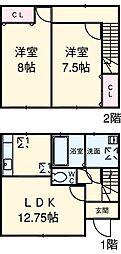 JR総武線 新小岩駅 バス14分 松本弁天下車 徒歩4分の賃貸テラスハウス 1階2LDKの間取り