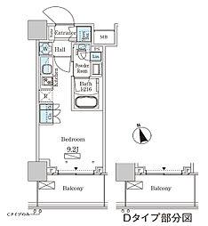 パークアクシス大塚ステーションゲートタワ 17階ワンルームの間取り