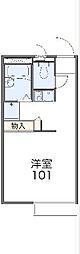 東武日光線 楡木駅 徒歩14分の賃貸アパート 2階1Kの間取り