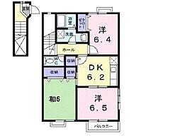JR常磐線 神立駅 徒歩5分の賃貸アパート 2階3DKの間取り