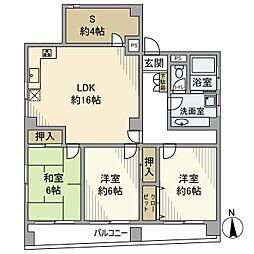 東京メトロ日比谷線 入谷駅 徒歩5分の賃貸マンション 5階3SLDKの間取り