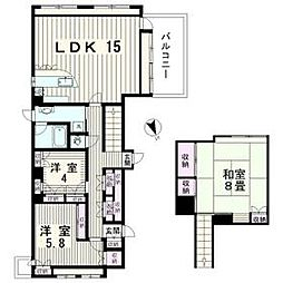 JR総武線 大久保駅 徒歩3分の賃貸マンション 6階3LDKの間取り