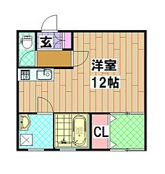 藤原マンション 3階ワンルームの間取り