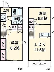アロンジェ B 1階2LDKの間取り