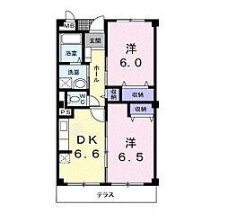 JR高崎線 本庄駅 徒歩13分の賃貸マンション 1階2DKの間取り