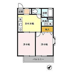 JR中央線 三鷹駅 バス15分 アジアアフリカ語学院前下車 徒歩5分の賃貸アパート 1階2DKの間取り