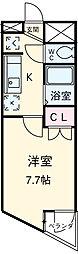 JR中央線 国分寺駅 徒歩3分の賃貸マンション 3階1Kの間取り