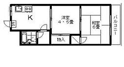 コートハウス本郷 3階2Kの間取り