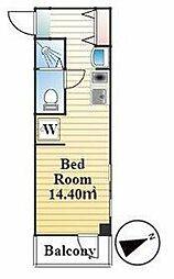 JR京浜東北・根岸線 大井町駅 徒歩5分の賃貸マンション 2階ワンルームの間取り
