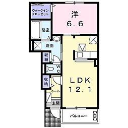 東武東上線 若葉駅 徒歩28分の賃貸アパート 1階1LDKの間取り