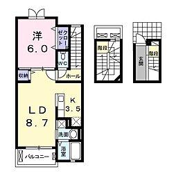 JR川越線 的場駅 徒歩2分の賃貸アパート 3階1LDKの間取り
