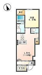 多摩都市モノレール 甲州街道駅 徒歩12分の賃貸アパート 1階1LDKの間取り