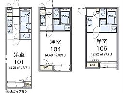 JR横浜線 相原駅 徒歩12分の賃貸アパート 2階1Kの間取り