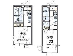 JR中央線 日野駅 徒歩11分の賃貸マンション 2階1Kの間取り