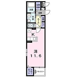 静岡鉄道静岡清水線 新清水駅 徒歩4分の賃貸マンション 2階1Kの間取り