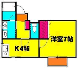 西川口AKTハウス 2階1DKの間取り