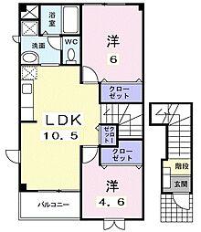 東武小泉線 篠塚駅 5.6kmの賃貸アパート 2階2LDKの間取り