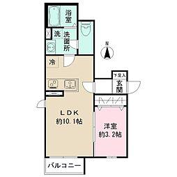 小田急小田原線 東北沢駅 徒歩3分の賃貸アパート 1階1LDKの間取り