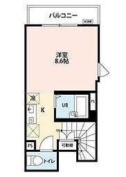 KTS笹塚 2階ワンルームの間取り