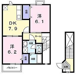 JR高崎線 鴻巣駅 バス11分 上谷氷川神社前下車 徒歩3分の賃貸アパート 2階2DKの間取り