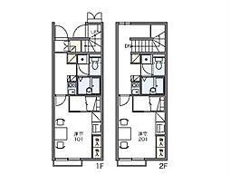 JR川越線 笠幡駅 徒歩12分の賃貸アパート 1階1Kの間取り