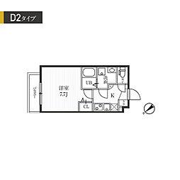 都営大江戸線 牛込柳町駅 徒歩7分の賃貸マンション 2階1Kの間取り