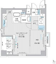 東急多摩川線 下丸子駅 徒歩4分の賃貸マンション 6階1LDKの間取り