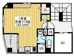 東京メトロ銀座線 田原町駅 徒歩1分の賃貸マンション 4階ワンルームの間取り