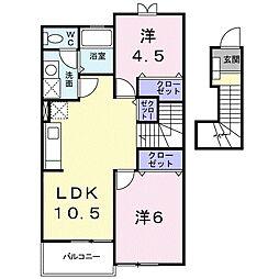 湘南新宿ライン高海 北鴻巣駅 徒歩13分の賃貸アパート 2階2LDKの間取り