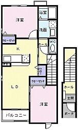 JR常磐線 大津港駅 徒歩8分の賃貸アパート 2階2LDKの間取り