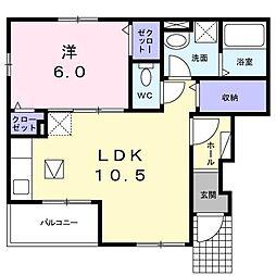 東武桐生線 治良門橋駅 徒歩9分の賃貸アパート 1階1LDKの間取り