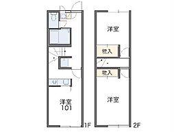 JR総武本線 四街道駅 徒歩24分の賃貸アパート 1階2DKの間取り