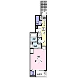 名鉄名古屋本線 有松駅 徒歩18分の賃貸アパート 1階1Kの間取り