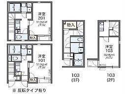 名古屋市営桜通線 徳重駅 徒歩25分の賃貸アパート 1階1Kの間取り