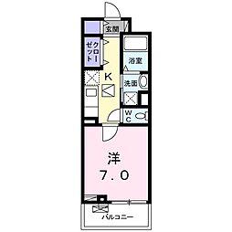 都営新宿線 篠崎駅 徒歩7分の賃貸アパート 1階1Kの間取り