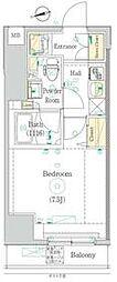 東京メトロ日比谷線 入谷駅 徒歩6分の賃貸マンション 8階1Kの間取り