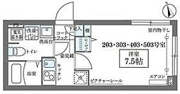 JR山手線 日暮里駅 徒歩8分の賃貸マンション 2階1Kの間取り