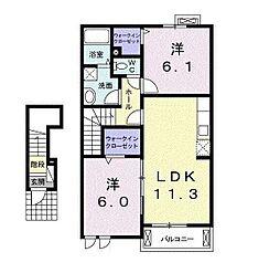 湘南新宿ライン高海 本庄駅 バス7分 四方田下車 徒歩10分の賃貸アパート 2階2LDKの間取り