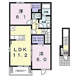 JR高崎線 鴻巣駅 徒歩19分の賃貸アパート 2階2LDKの間取り